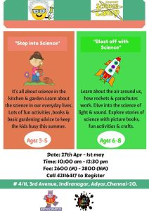 Science Factoty 27th april to 1st may